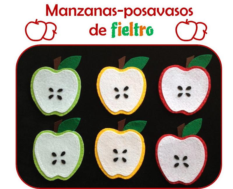 Posavasos de fieltro con forma de manzana