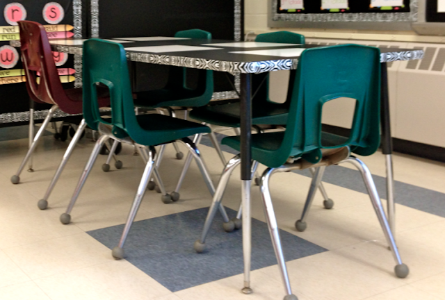 Built in dry erase boards on table