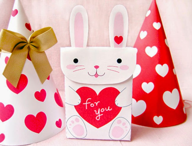 Sobres para regalos de San Valentín recortables