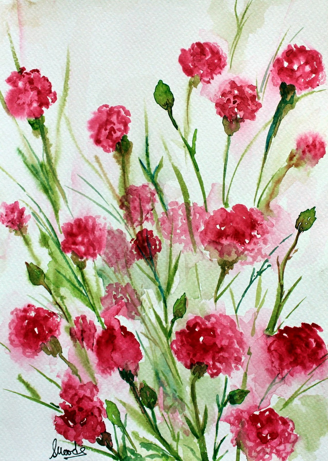 #pink #carnation #bouquet #flower #watercolors #painting