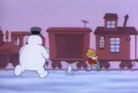 so no one on that train sees the giant moving snowman heading in their direction