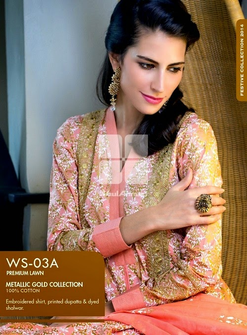 Metallic Gold Embroidered Collection from Gul Ahmed Magazine 2014