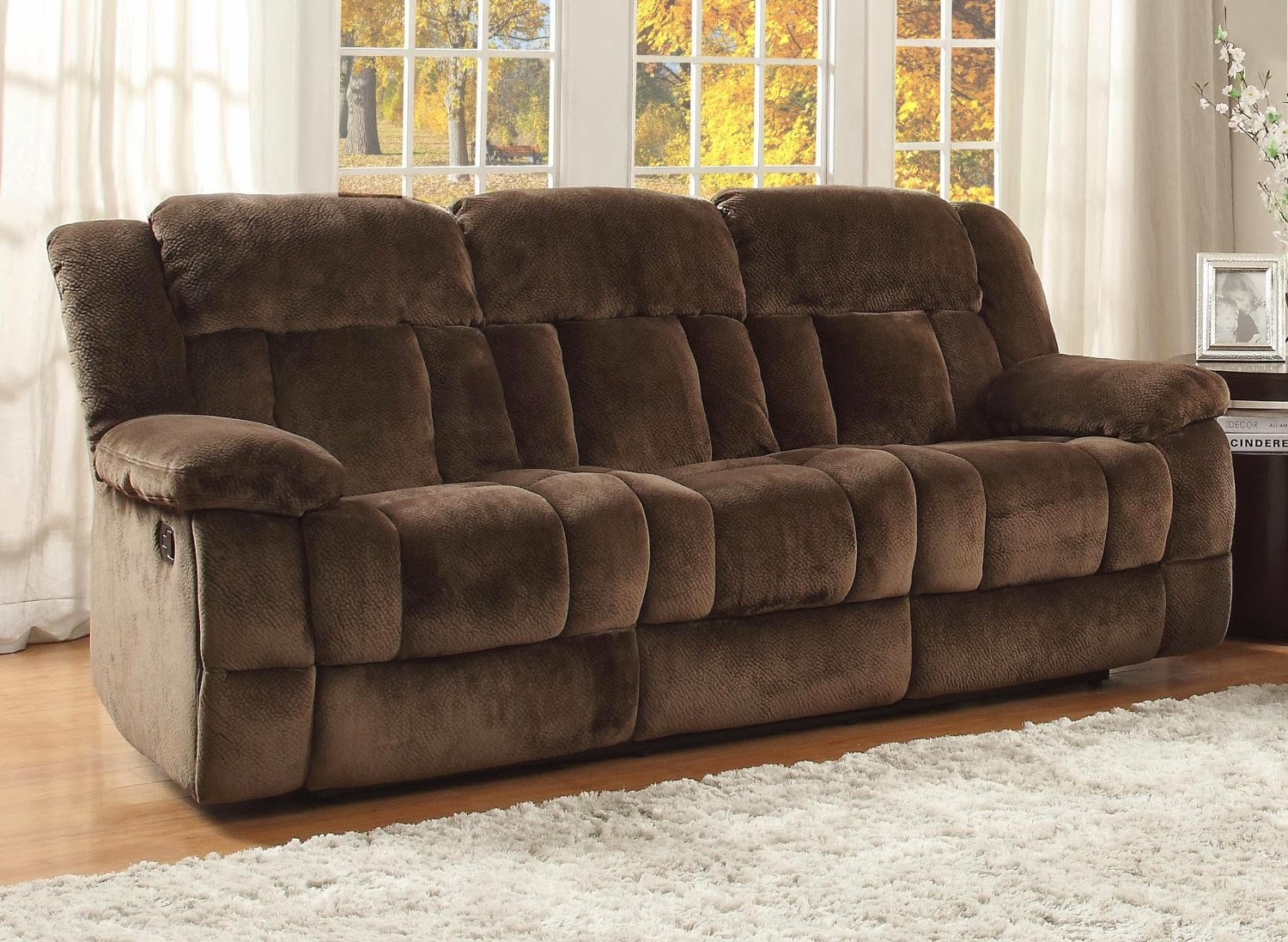 Homelegance laurelton textured plush microfiber motion for Plush couch and loveseat