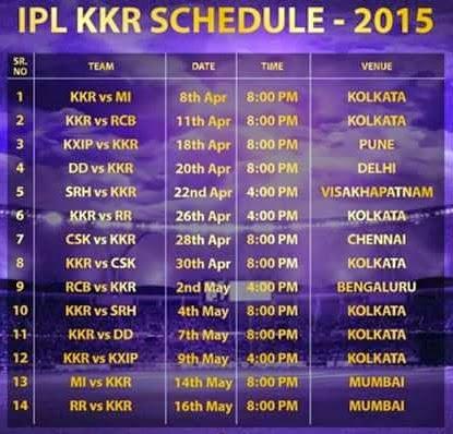 Pepsi Ipl 2015 Schedule Pepsi Ipl 8 Match Time Table | Holidays OO