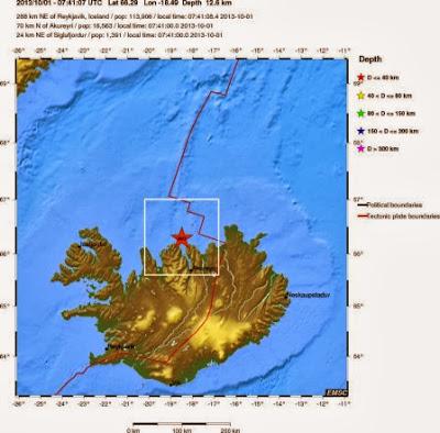 sismo 3,4 grados noerte de Islandia, 02 de Octubre 2013