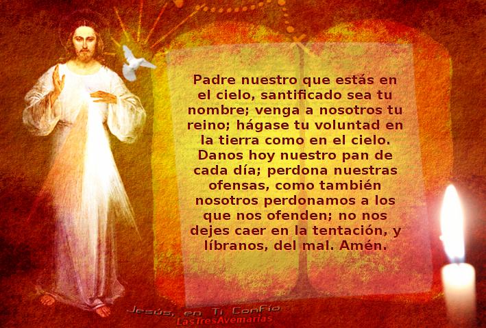 pater noster español en foto de jesus misericordia