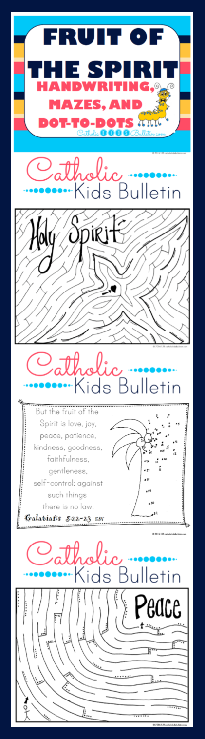 Fruit of the Spirit Handwriting Mazes and Dot-to-dots