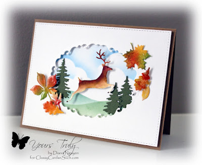 Diana Nguyen, Impression Obsession, fall, deer, leaves, Poppystamps, Memory Box