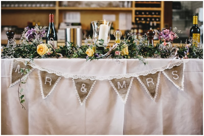 Rustic bunting table decorations