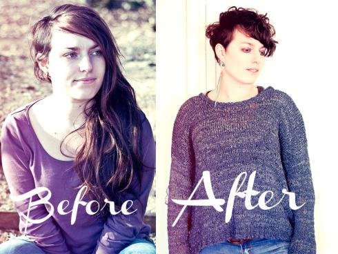 Photos d'Elsa, de gauche à droite, avant et après sa visite au Studio 54, une coupe à sa demande.