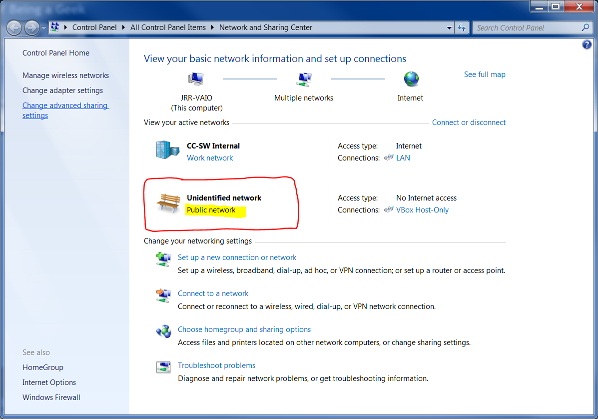 change public network to home windows 7