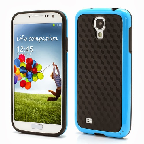 Cool 3D Cube Texture TPU Case for Samsung Galaxy S 4 IV i9500 i9505 - Black / Blue