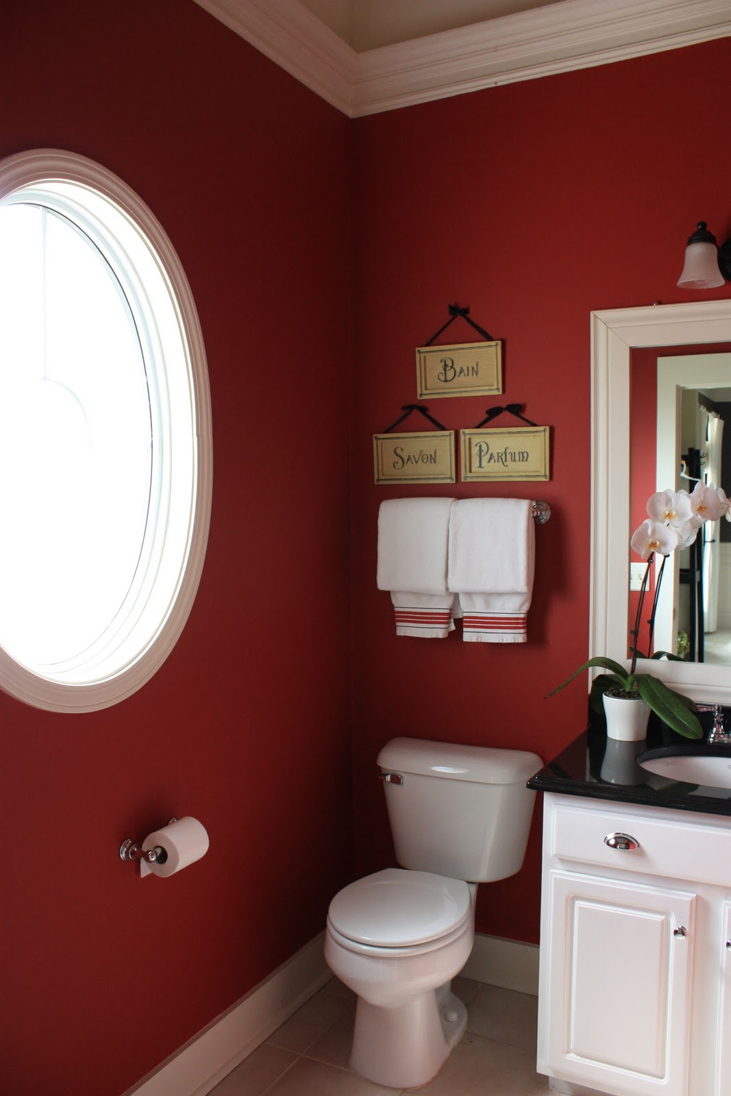 Red western bathroom decor - 31 Days Of Character Building Easy Odd Shaped Window Solution