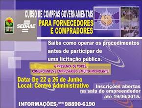 INSCRIÇÕES ABERTAS: LOCAL: SALA DO EMPREENDEDOR DE URBANO SANTOS
