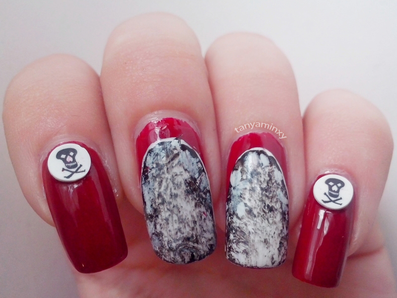 Red Ruffian Black And White Marble Skulls Nails Nail Art Nail Design