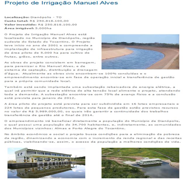 Projeto de Irrigação Manuel Alves - TO