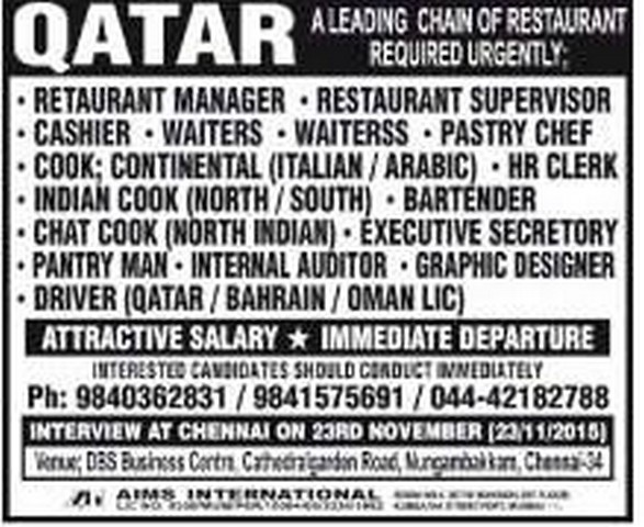 Attractive Salary For Restaurant Job Vacancies Qatar