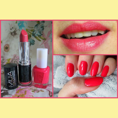 MUA lipstick and nail polish in bright Coral from superdrug.