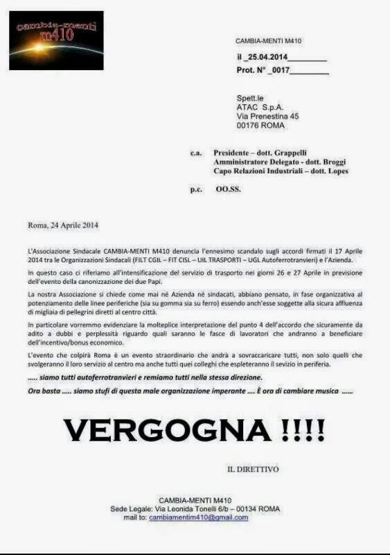 Nota Cambia-Menti su accordo Sindacati Atac per la Canonizzazione Papi