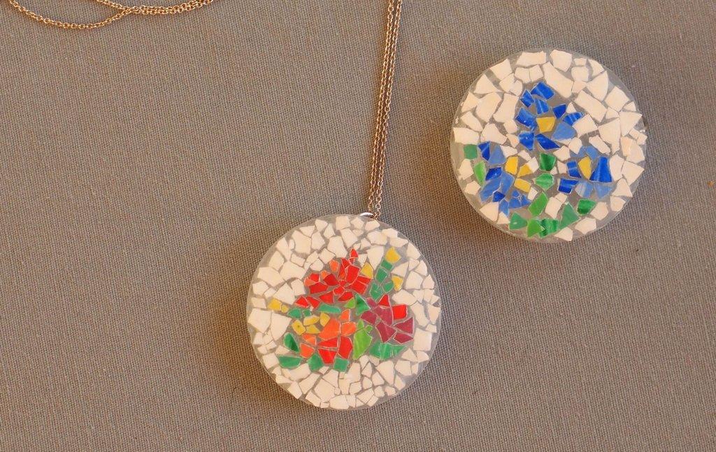 Make an eggshell mosaic pendant pink stripey socks make eggshell mosaic pendants with the kids aloadofball Choice Image