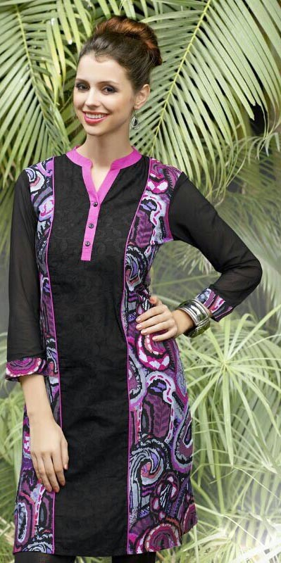 Beautiful Black Cotton Printed Party Wear Kurti