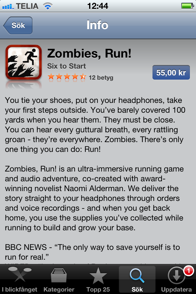 Zombies, Run! Löparapp