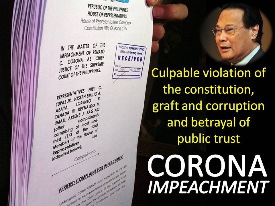 corona s impeachment Wow corona owned a $10 million or php420 million bank account that's alot of money now tell me how can a chief justice earn that much in just 8 years.