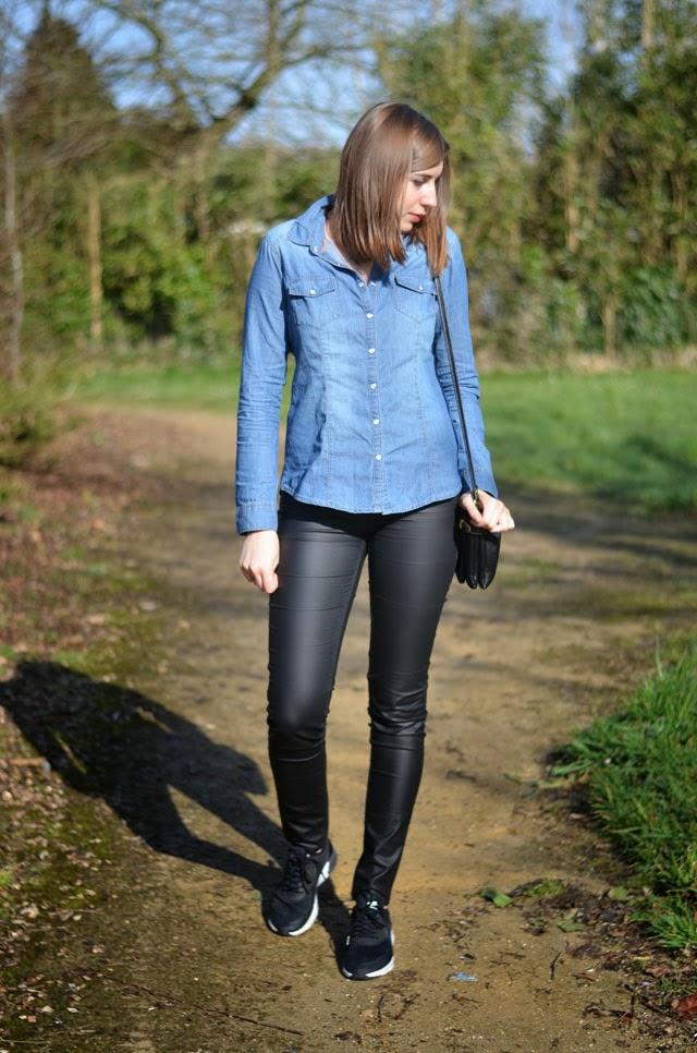 chemise en jean cache cache slim simili cuir