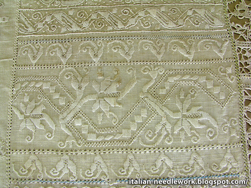 Italian needlework whitework sampler in the palazzo davanzati