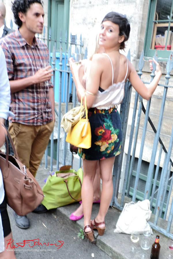 Candid fashion shot, floral skirt, cammie top , NAS opening,