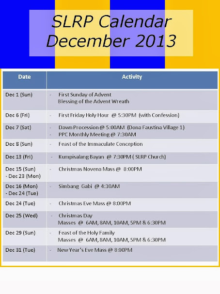 SLRP Monthly Calendar of Activities