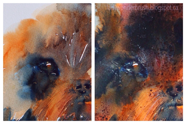 Eyes appears on early stage. Watercolor in progress by Olga Peregood