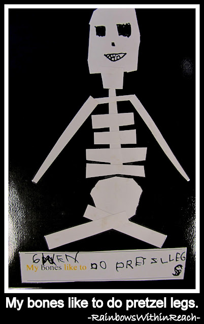 photo of: My bones like to do pretzel legs. Kindergarten Class Book from LizzLessons via RainbowsWithinReach)
