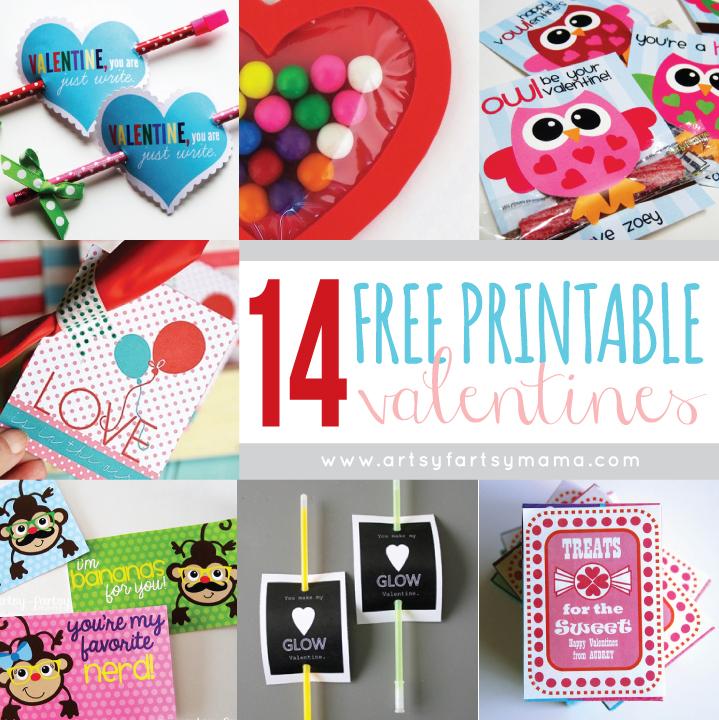 14 Free Printable Valentines at artsyfartsymama.com #freeprintable #Valentines