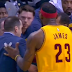 LeBron James pushes David Blatt aside while arguing with referee (Video)