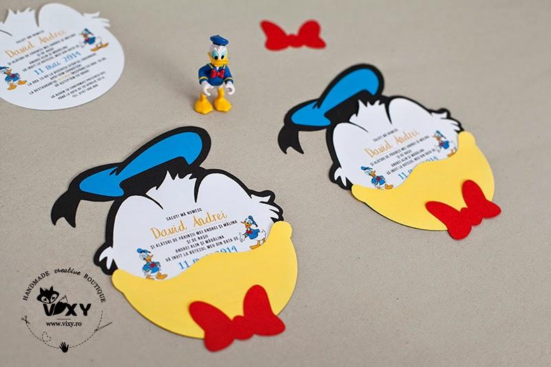 invitatii botez indedite, invitatii botez Donad Duck, invitatie petrecere copii, invitatie handmade, invitatie Donald Duck, invitatie personalizata