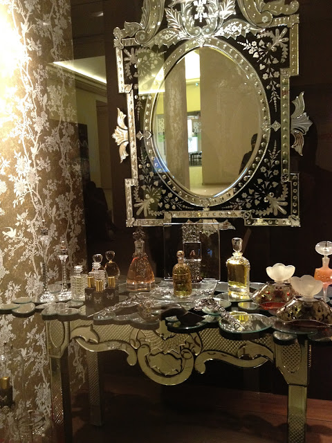 mirror, lace, etched, boudoir, glass dressing table, perfumes, luxury