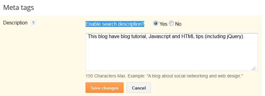 Blogger meta tags description in blogspot interface