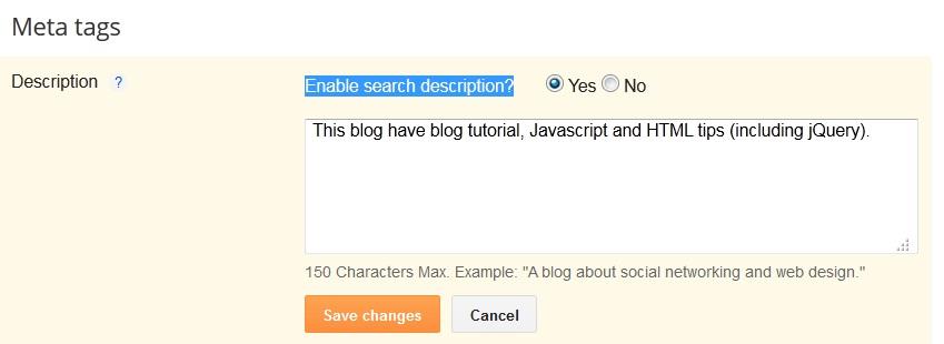 Blogger meta tags description in blogspot interface