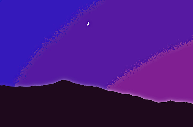 background of a dark violet sky with half moon