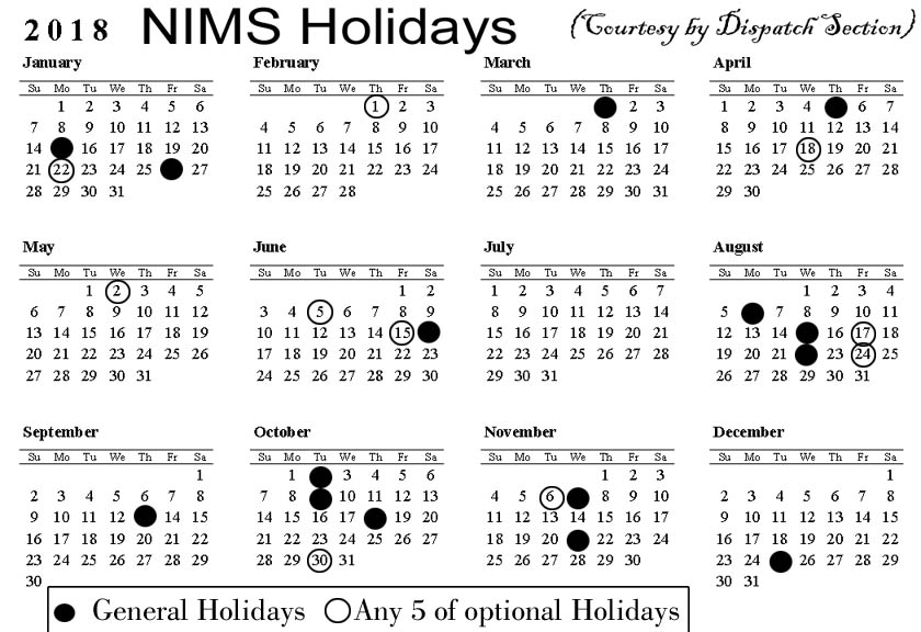 NIMS Holidays List 2018 ..Click on to Enlarge