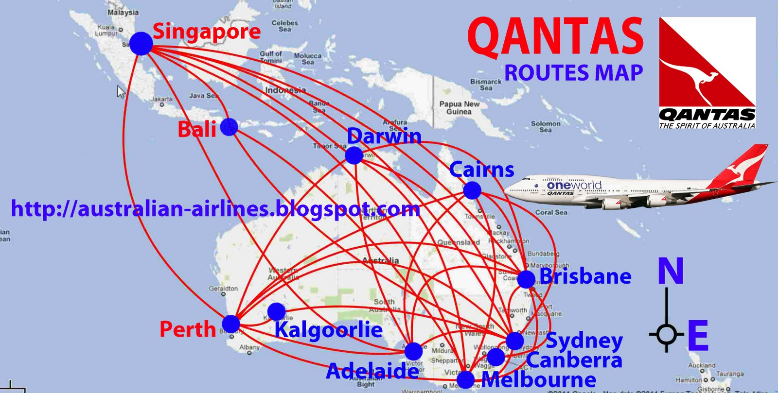 Qantas routes map | Design Plane