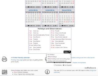 Generator calendar - TimeAndDate.com - Sarabatori