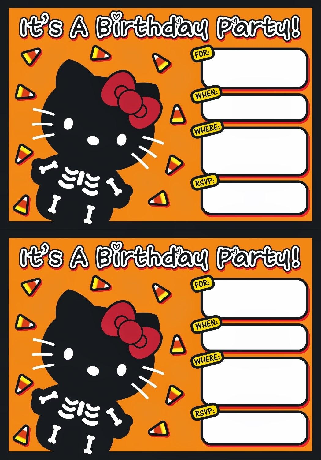 I love Kawaii: FREE Printable Halloween Hello Kitty Invitation Set