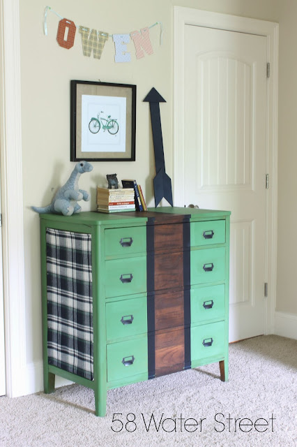 painted furniture, furniture makeover, plaid, stripes, hardware, boys room, decor