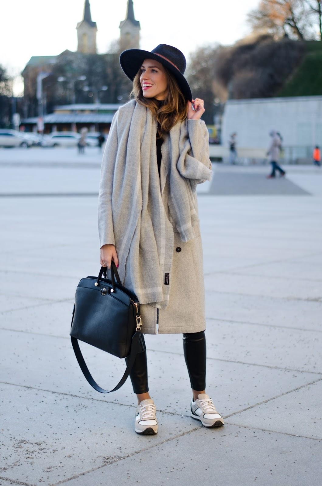 kristjaana mere gray wool coat long scarf fedora minimal winter outfit