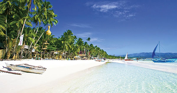 White sand beach in Boracay, Philippines