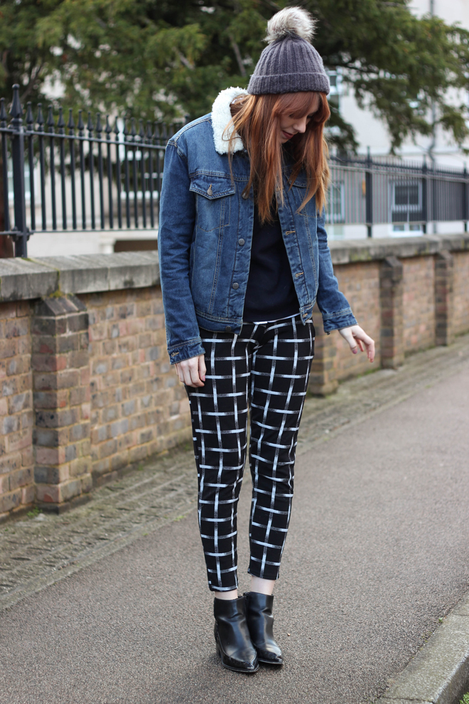 grid check trousers and denim jacket - the goodowl