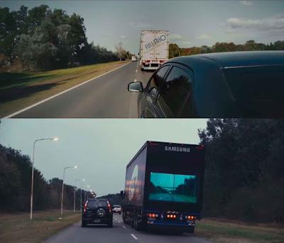 Ejemplo de adelantamiento sin y con el sistema Samsung Safety Truck