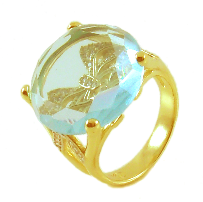 Anel folheado a ouro 18k.  Com pedra natural: Água Marinha.